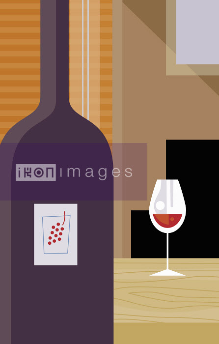 Close up of bottle of red wine and wine glass - Close up of bottle of red wine and wine glass - James Turner