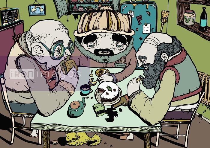 Elderly men eating at kitchen table - Elderly men eating at kitchen table - Camelia Dobrin