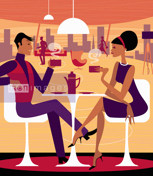 Couple having coffee together - Couple having coffee together - Arlene Adams