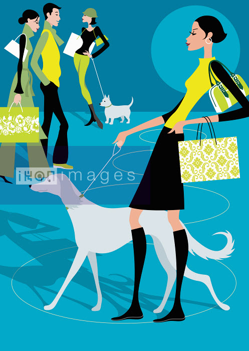 People walking dogs and carrying shopping bags - People walking dogs and carrying shopping bags - Arlene Adams