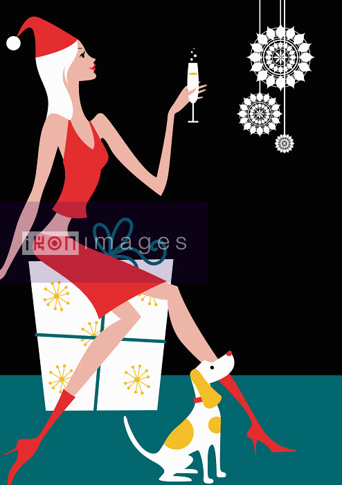 Arlene Adams - Woman in santa costume drinking Champagne and sitting on Christmas gift