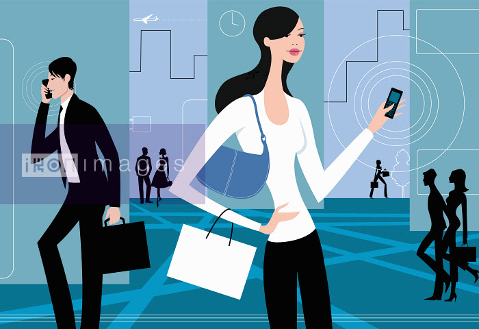 Busy people with cell phones - Busy people with cell phones - Arlene Adams