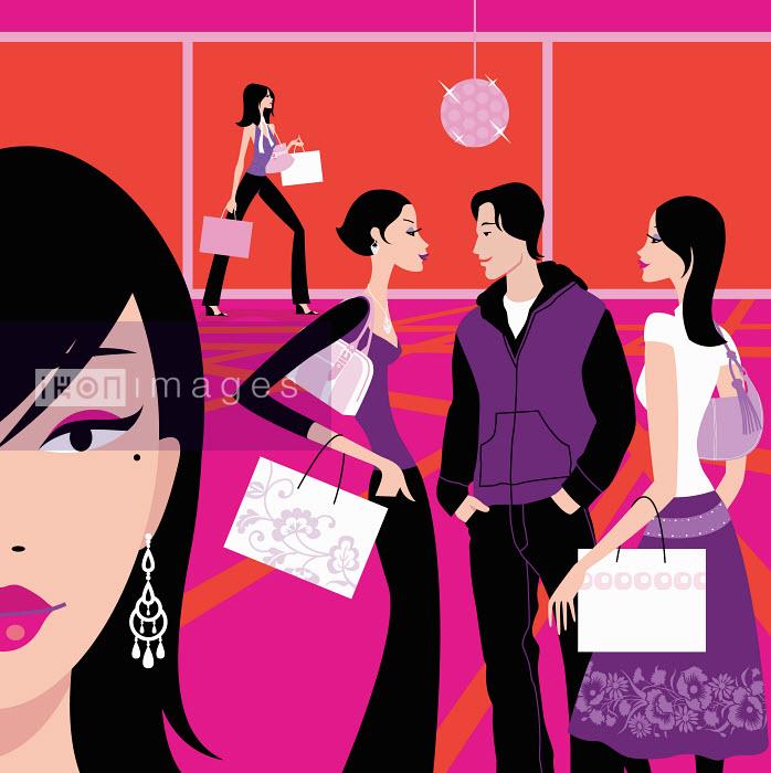 Women in mall carrying shopping bags - Women in mall carrying shopping bags - Arlene Adams