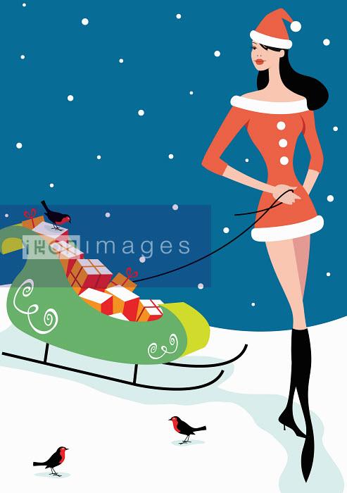 Arlene Adams - Woman in Santa costume pulling sleigh full of gifts