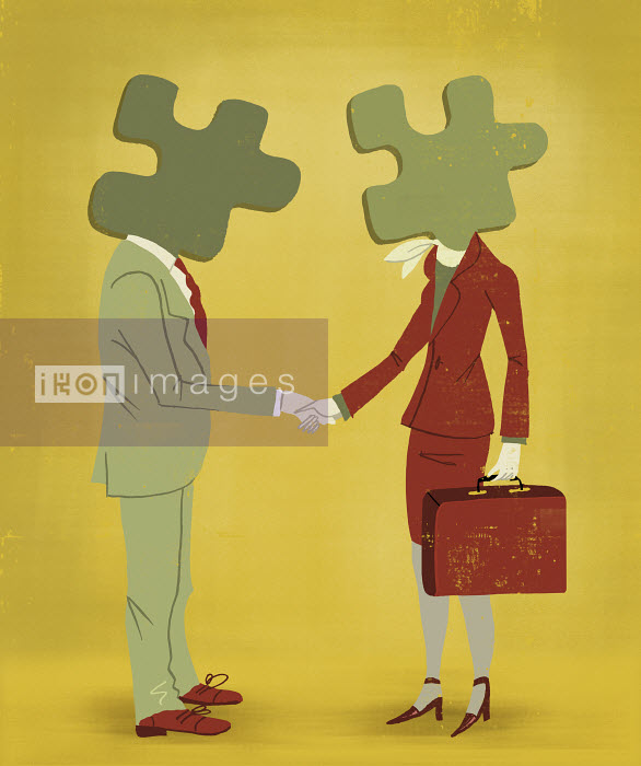 Luciano Lozano - Businessman and businesswoman with puzzle pieces for heads