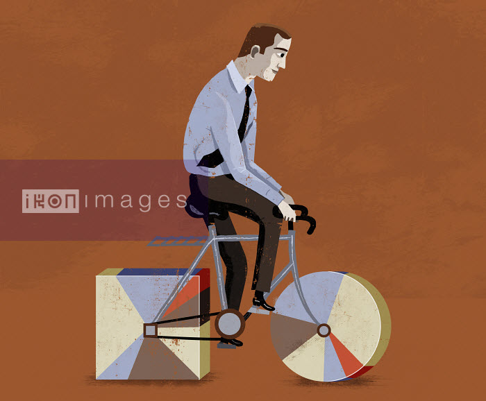 Luciano Lozano - Businessman riding bicycle with round and square wheels