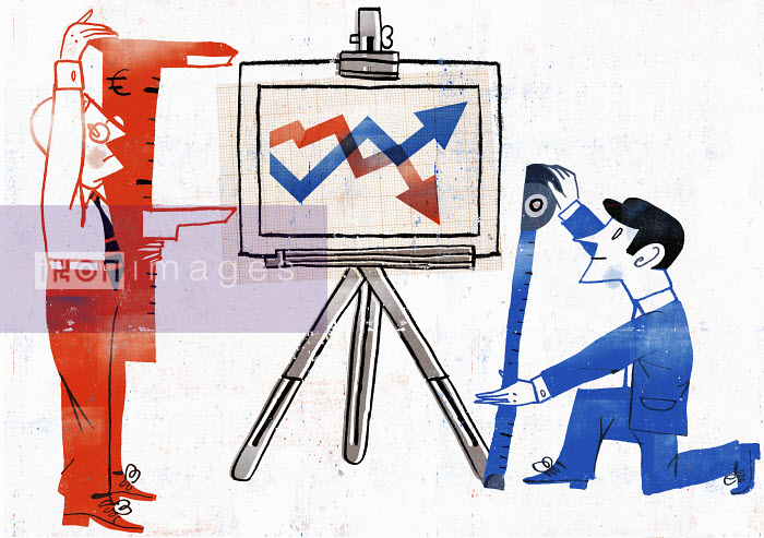Businessmen measuring line graph on easel - Businessmen measuring line graph on easel - Luciano Lozano