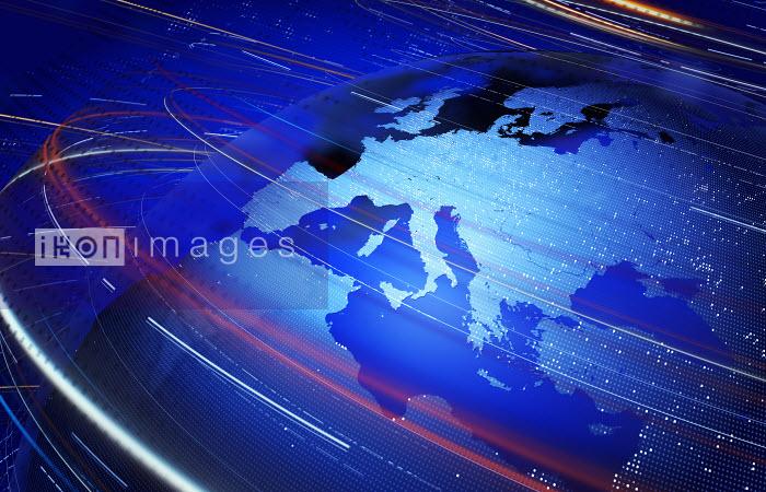 Saul Gravy - Data swirling around Europe and the Mediterranean on digital globe
