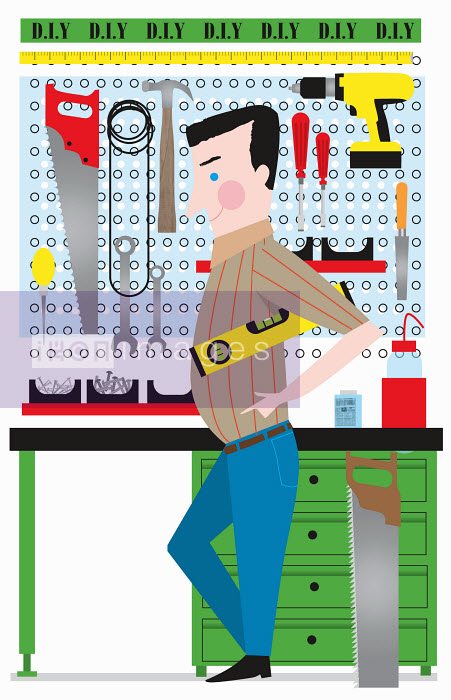 Nila Aye - DIY handyman with tools at workbench