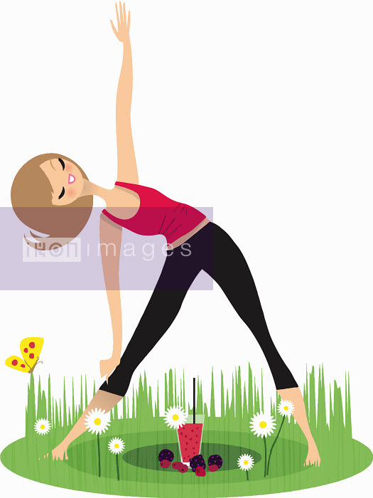 Smiling woman stretching doing triangle yoga pose in garden - Smiling woman stretching doing triangle yoga pose in garden - Nila Aye