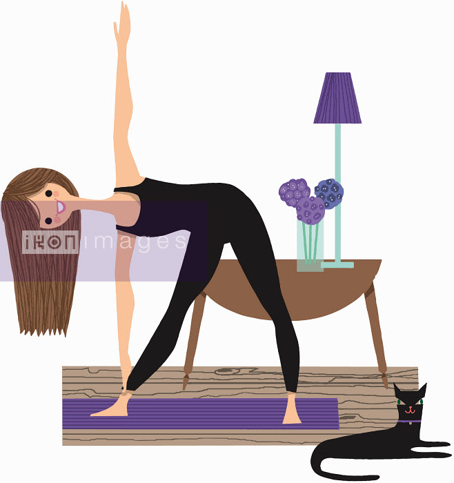 Nila Aye - Portrait of smiling woman stretching doing triangle yoga pose in living room