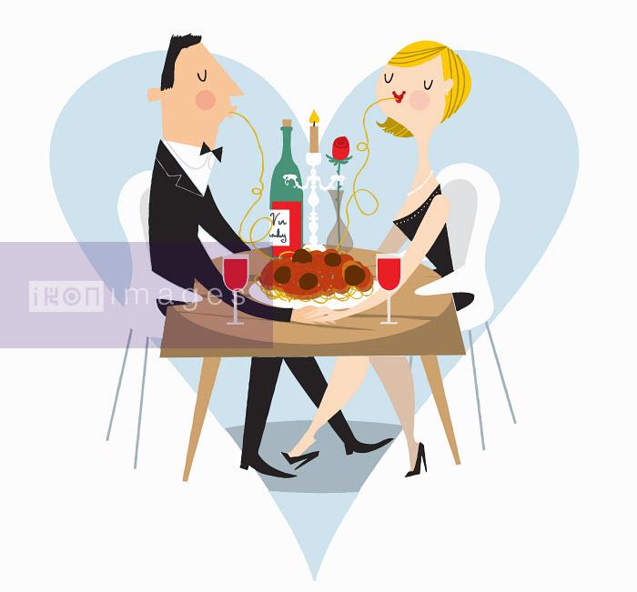 Nila Aye - Couple sharing spaghetti at romantic meal