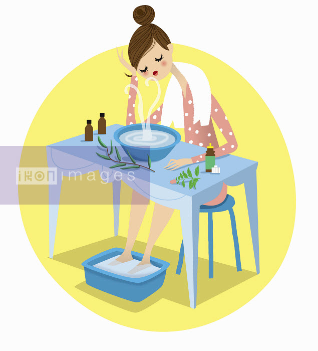 Woman with cold soaking feet and using herbal remedy decongestant - Woman with cold soaking feet and using herbal remedy decongestant - Nila Aye