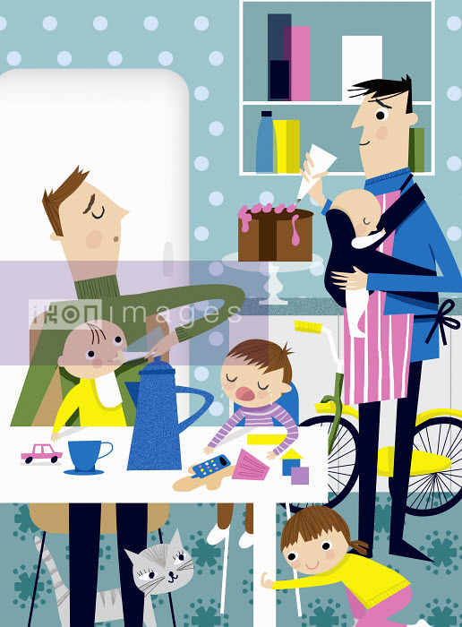Househusbands busy in kitchen with babies and young children - Househusbands busy in kitchen with babies and young children - Nila Aye