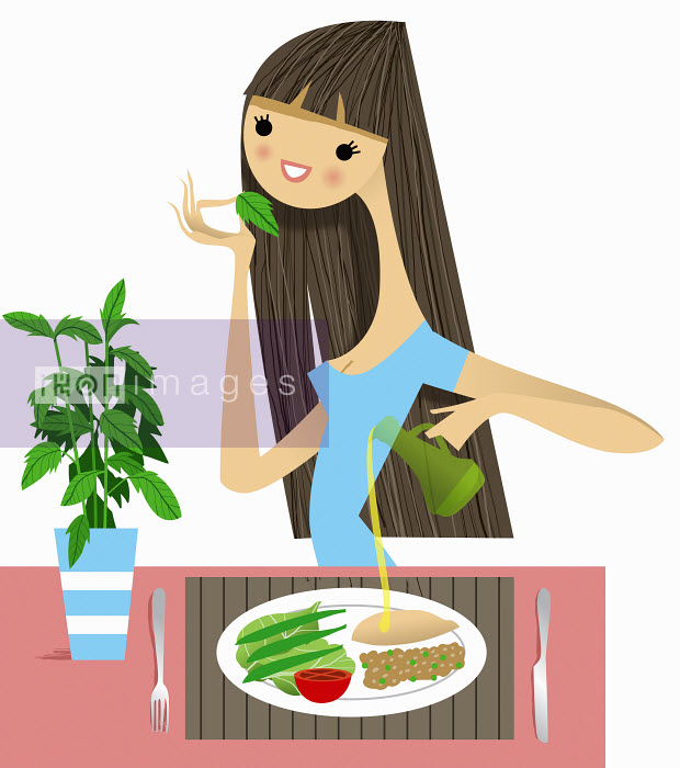 Nila Aye - Woman smelling fresh herb with healthy meal