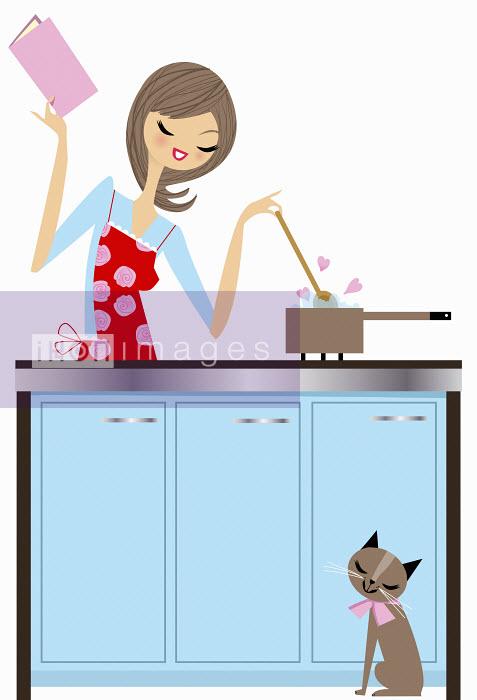 Nila Aye - Happy woman cooking with love