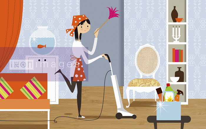 Nila Aye - Happy woman doing housework holding feather duster and vacuuming living room