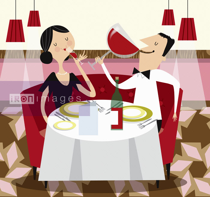 Contrast between man drinking from enormous wine glass and woman drinking from small wine glass at restaurant meal - Contrast between man drinking from enormous wine glass and woman drinking from small wine glass at restaurant meal - Nila Aye