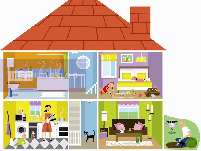 Nila Aye - Cross section of family house with potential hazards