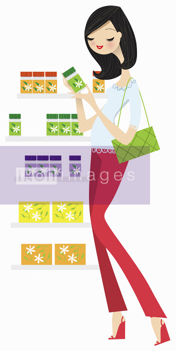 Nila Aye - Woman reading label on herbal medicine bottle in front of display shelf
