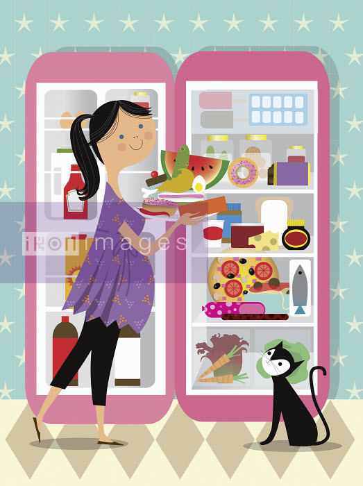 Nila Aye - Pregnant woman with carvings stacking food on plate at open refrigerator