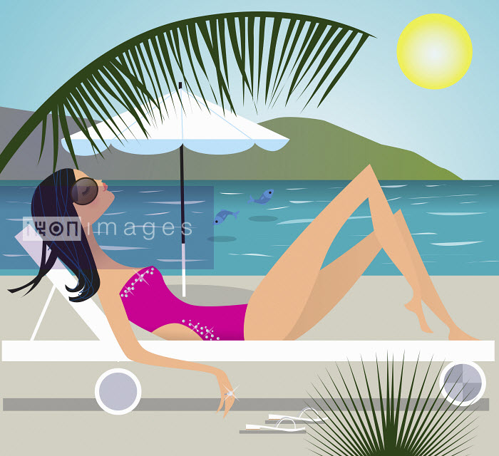 Nila Aye - Serene woman sunbathing on lounge chair at beach