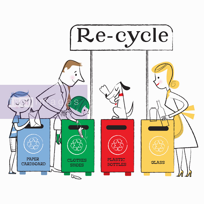 Family using paper, clothes, plastic and glass recycling bins - Family using paper, clothes, plastic and glass recycling bins - Nila Aye