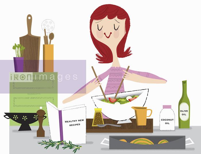 Nila Aye - Young woman making healthy salad using recipe book