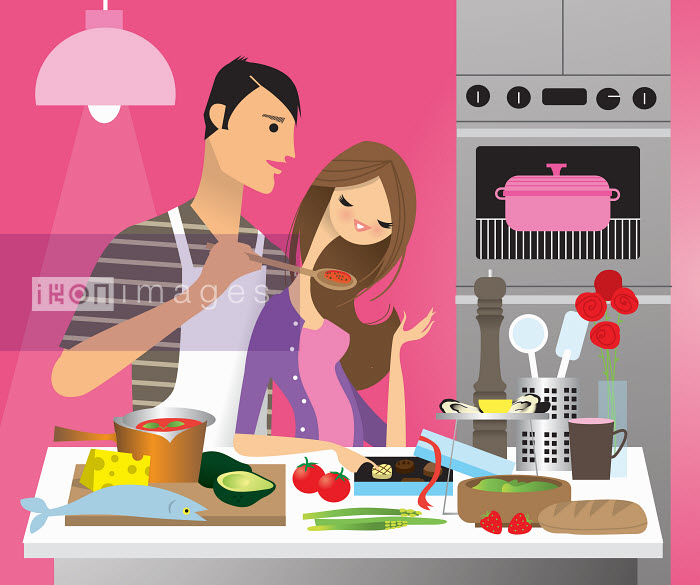 Man cooking romantic dinner for girlfriend - Nila Aye