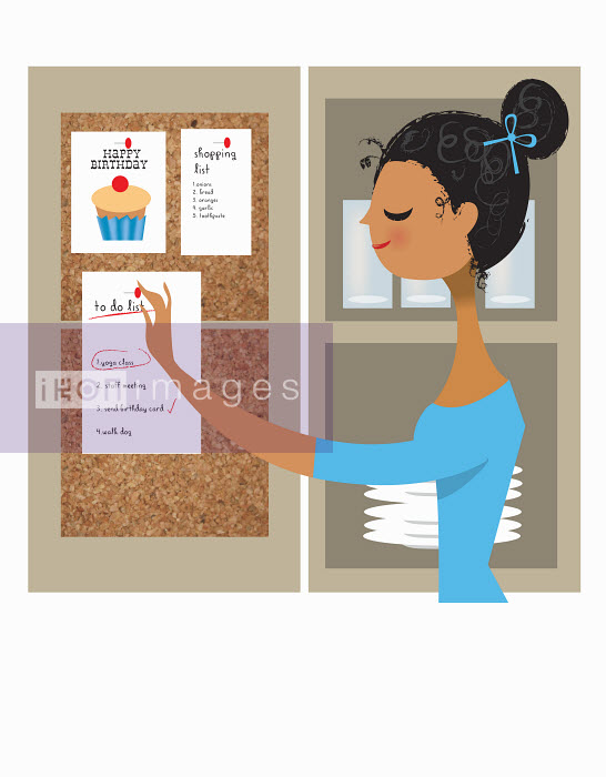 Nila Aye - Organized woman pinning to do list to pin board