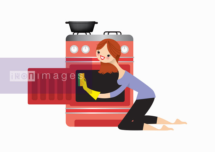 Woman cleaning oven - Nila Aye