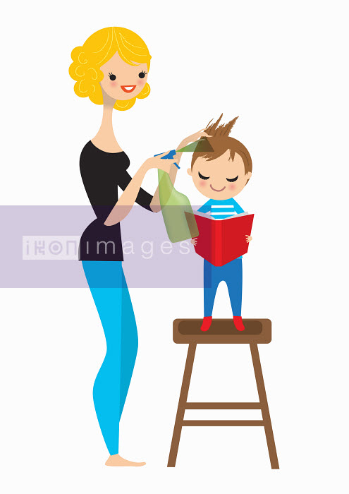 Nila Aye - Mother spraying boy's hair for head lice