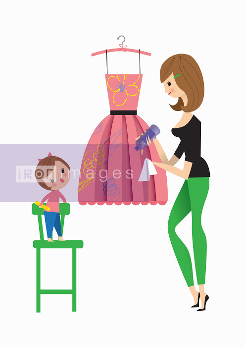 Mother cleaning daughter's crayon scribbles off smart dress - Nila Aye