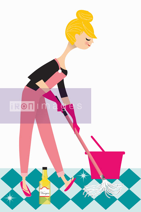 Nila Aye - Woman mopping floor with vinegar