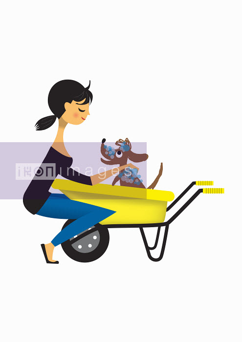 Nila Aye - Woman washing dog in wheelbarrow