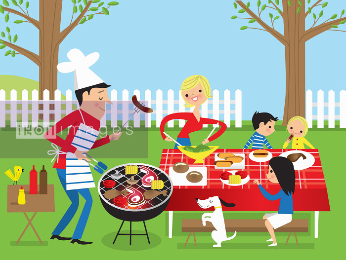 Nila Aye - Family having barbecue in garden