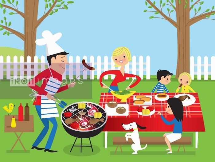 Family having barbecue in garden - Nila Aye