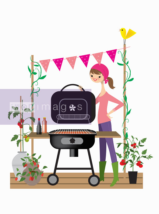 Nila Aye - Woman setting up barbecue for party