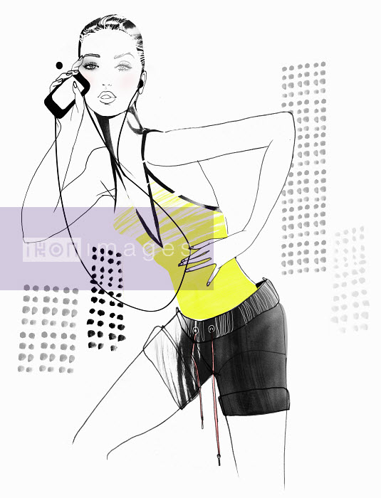 Mette Boesgaard - Portrait of fit woman with mp3 player listening to music on headphones