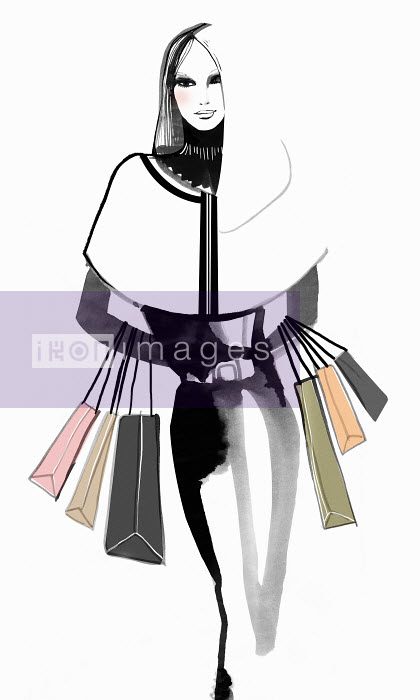Mette Boesgaard - Portrait of elegant woman carrying shopping bags