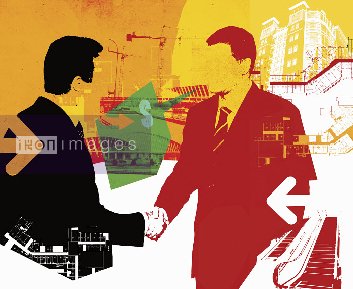 Lee Woodgate - Buildings, plans and businessmen shaking hands