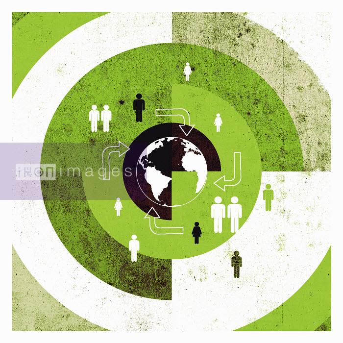 Lee Woodgate - People and arrows on target around globe