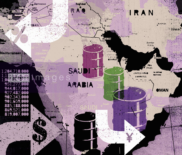 Oil barrels on map of Middle East - Oil barrels on map of Middle East - Lee Woodgate
