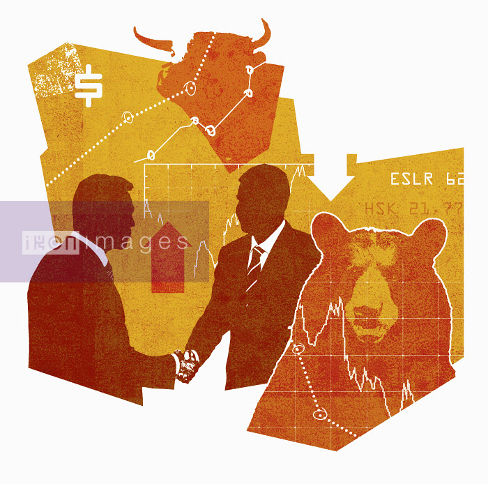 Lee Woodgate - Graphs and arrows behind businessmen shaking hands between bear and bull