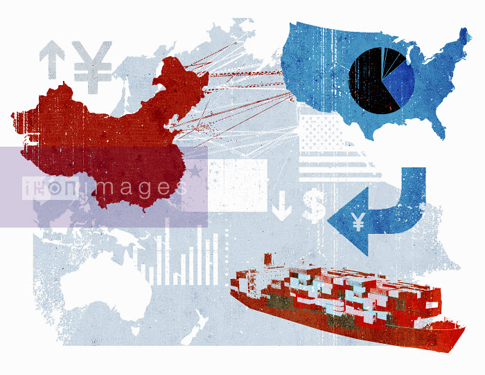 Trade connections between China and United States on map - Trade connections between China and United States on map - Lee Woodgate