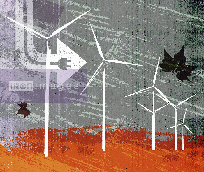 Lee Woodgate - Electric plug and wind blowing wind turbines