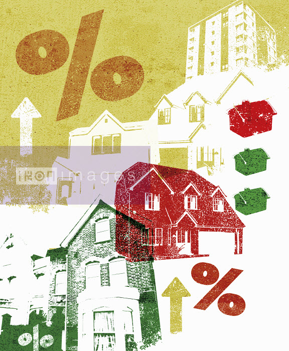 Collage of houses and rising percent rates - Collage of houses and rising percent rates - Lee Woodgate