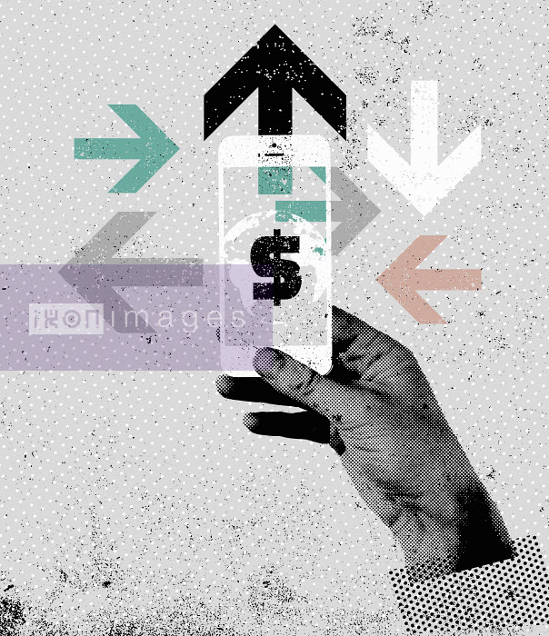 Lee Woodgate - Hand using smart phone accessing global finance