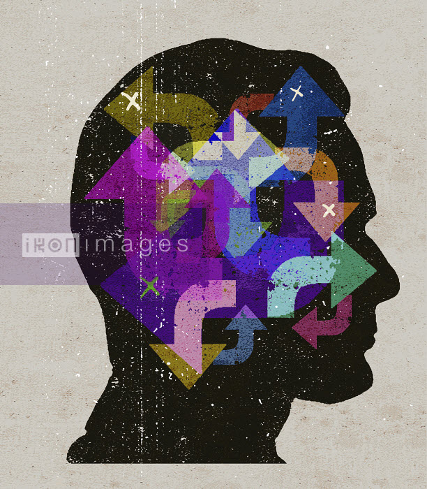 Lee Woodgate - Confusion with arrows pointing in different directions inside of man's head