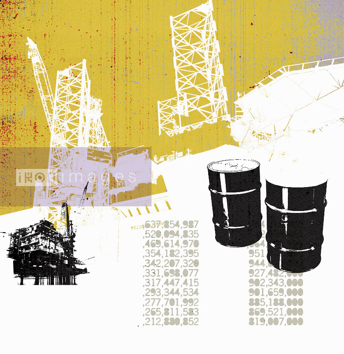 Lee Woodgate - Oil barrels and oil production platform with stock prices
